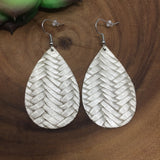 Platinum Braided Leather Teardrop