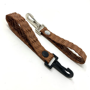 Brown Braided Leather Keychain