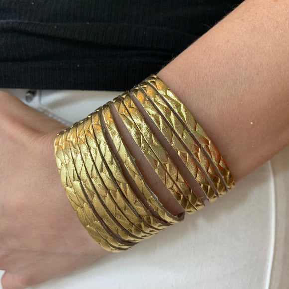 Gold Braided Leather Slit Cuff