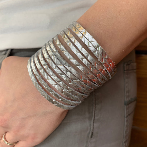 Silver Braided Leather Slit Cuff