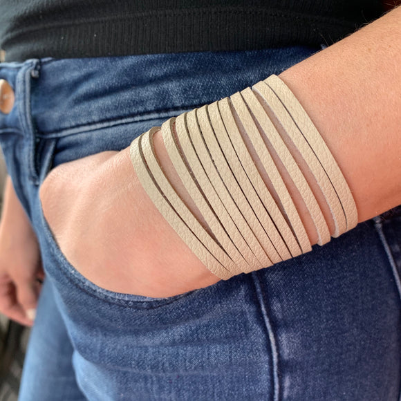 Bone Leather Slit Cuff