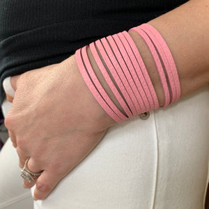 Soft Pink Leather Slit Cuff