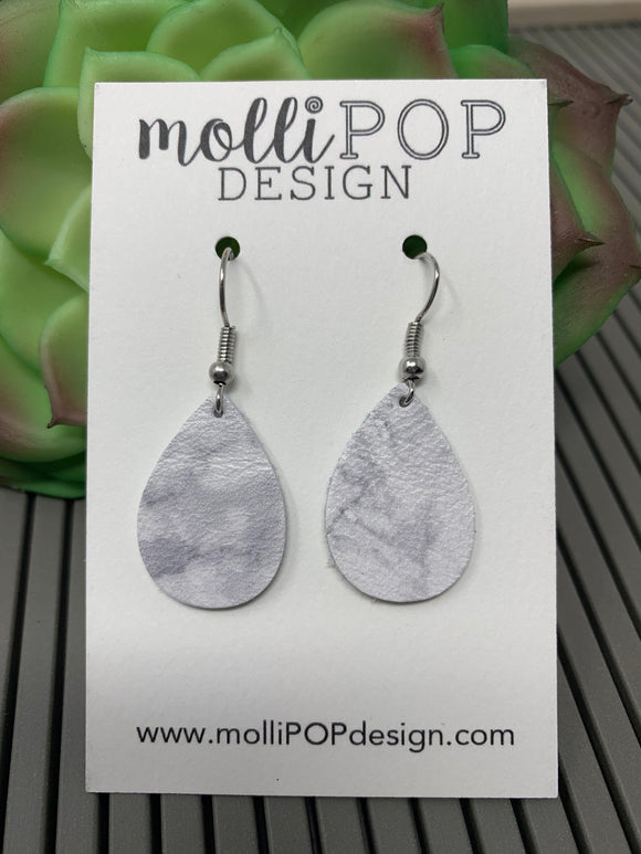 Mini White Marble Leather Teardrop