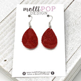 Mini Red Suede Etched Daisy Teardrop