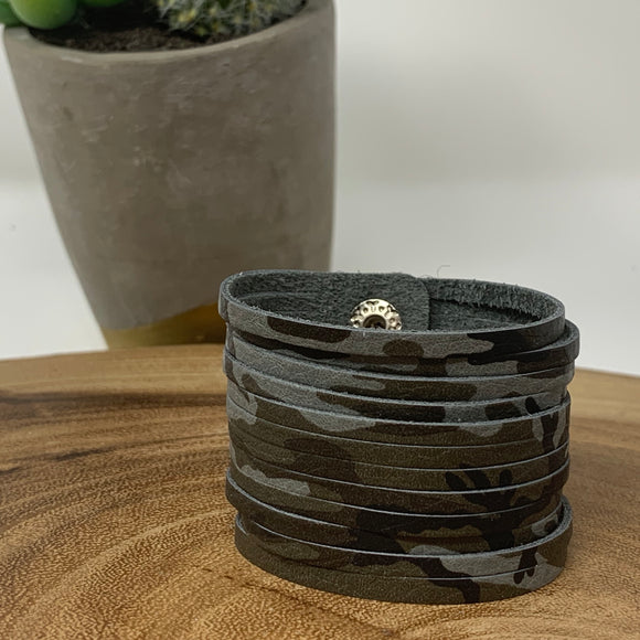 Camo Leather Slit Cuff