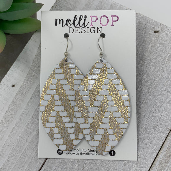 Gold and White Chevron Leather Leaf