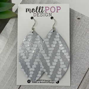 Silver and White Chevron Leather Leaf