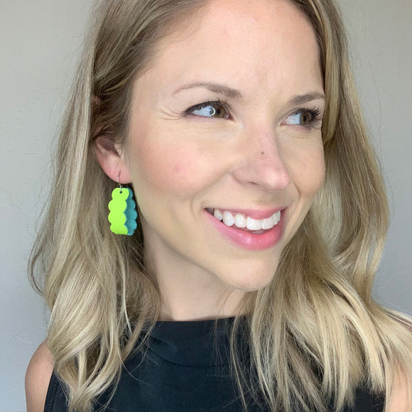 Neon Yellow Scallop Loop Leather Earrings