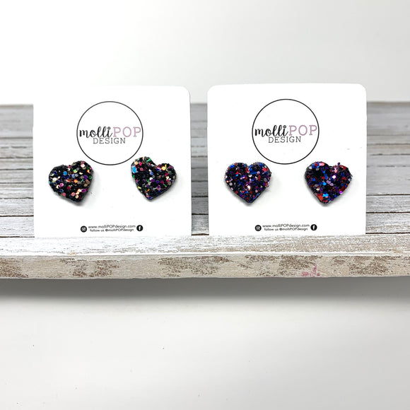 Heart Glitter Faux Leather Studs