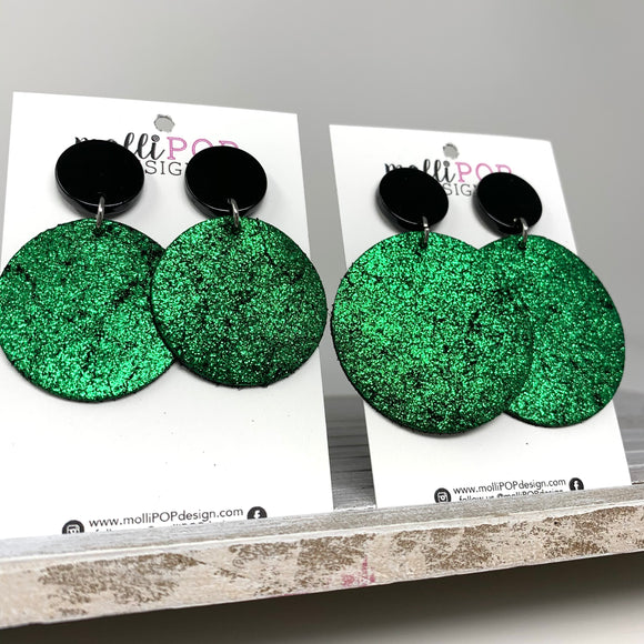 Shimmer Green and Black Circle Leather Earrings