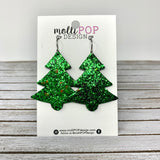 Sparkle Christmas Tree Leather Earrings