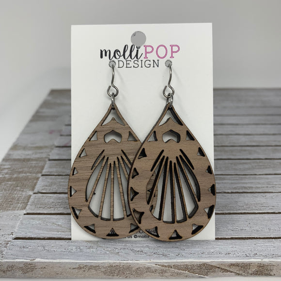 Lotus Teardrop Earrings in Walnut
