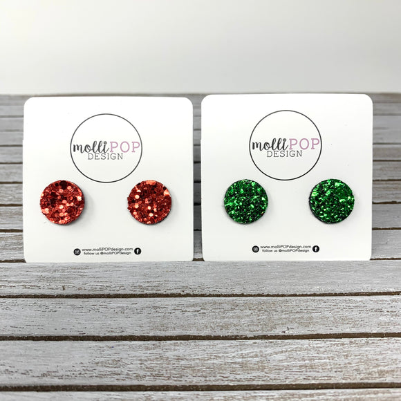 Holiday Glitter Circle Studs