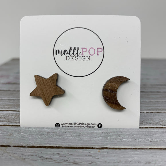 Star and Moon Wood Studs