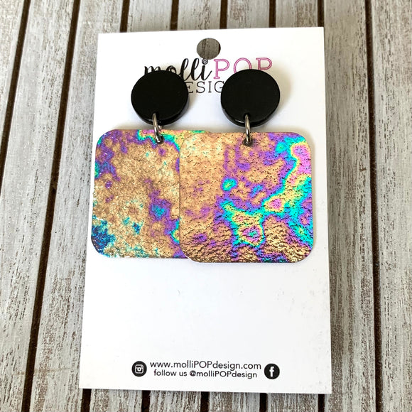 Square Oil Slick Earrings