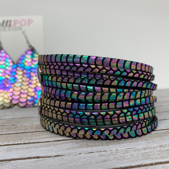 Rainbow Mermaid Leather Slit Cuff