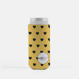 Yellow with Black Hearts Skinny Koozie