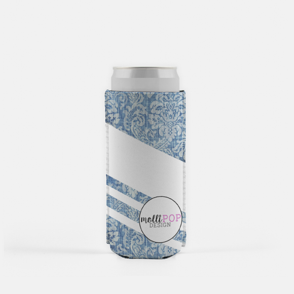 Floral-Denim with White Stripes Skinny Koozie