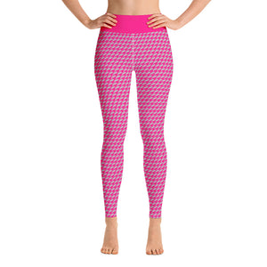 Hot Pink and Gray Houndstooth High Waist Leggings