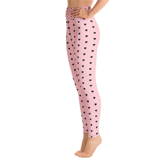 Pink with Black Heart High Waist Leggings