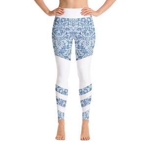 Floral Denim-Look High Waist Leggings
