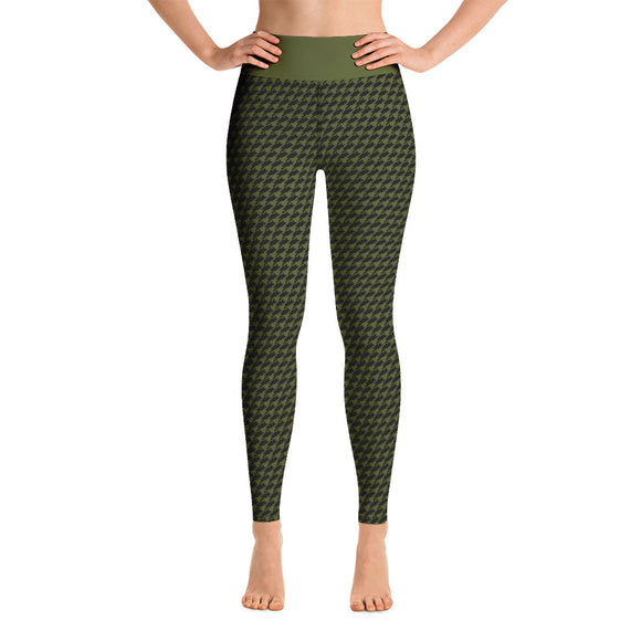 Army Green & Black Houndstooth High Waist Leggings