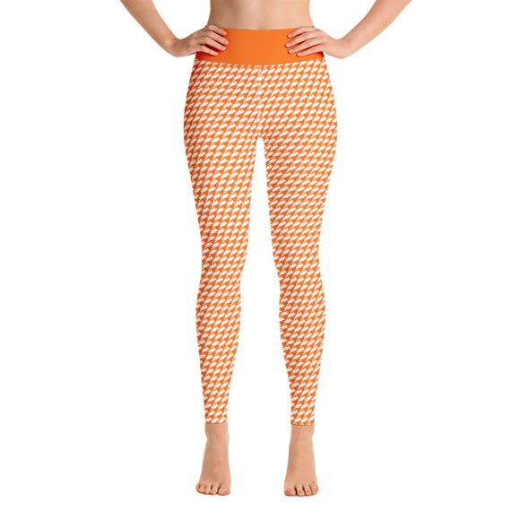 Orange Creamsicle Houndstooth High Waist Leggings