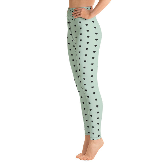 Mint Chip with Black Heart High Waist Leggings
