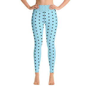 Light Blue with Black Heart High Waist Leggings