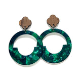 Dark Green and Blue Acrylic Geometric Hoop and Walnut Stud Earrings