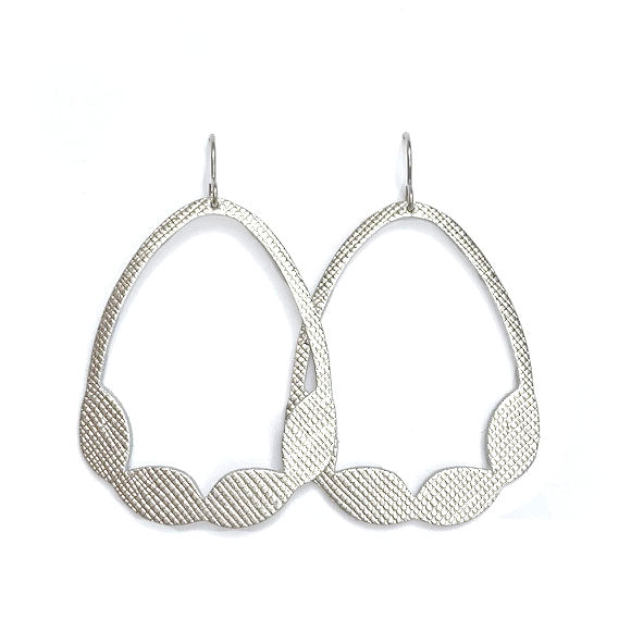 Saffiano Leather Hoop Cut-out Earrings