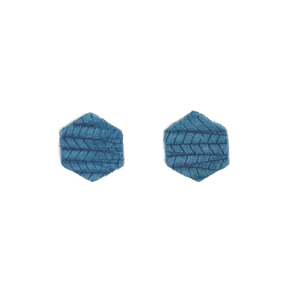Teal Palm Leather Hexagon Studs