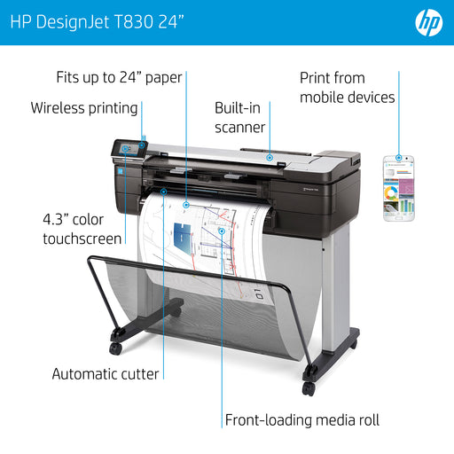 "HP DesignJet T830 Mobile 24"" MFP Technical Printer"