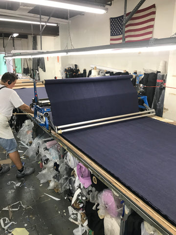 Cutting room where we laid out the fabric for our nursing dress
