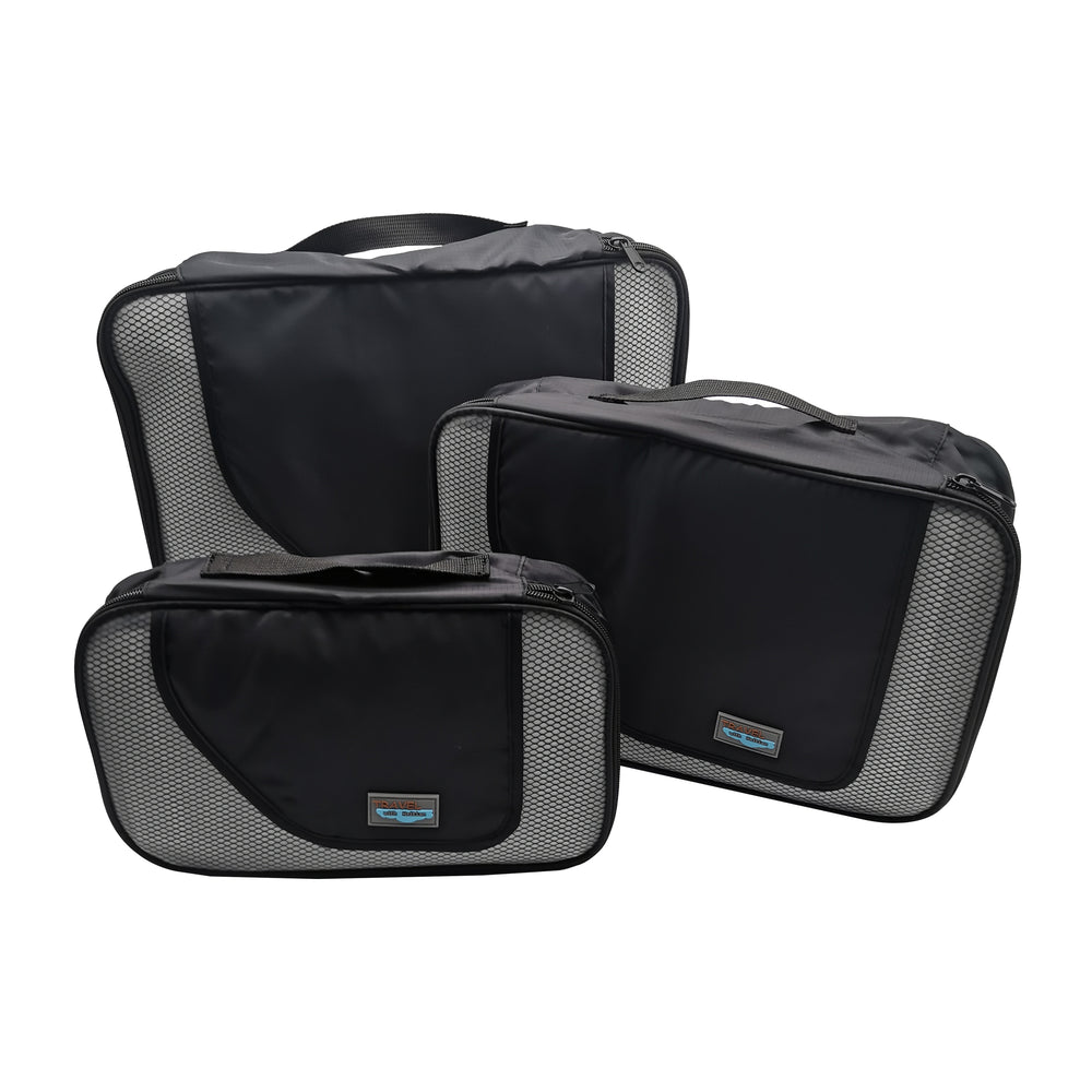 HAITIAN Travel Organizer Cubes Set, Durable Lightweight Luggage organizer Packing bags - 3 Piece,Black