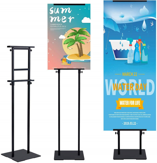 Heavy Duty Banner Stand with Non-Slip Mat Base, Adjustable Pedestal Poster Stand Up to 78 inch, Double Side Banner Holder for Multiple Display
