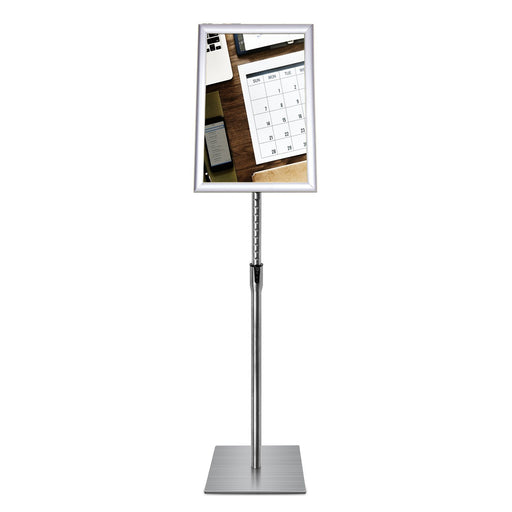 Sign Stand Fits for 11x17 Inches Poster, Heavy Square Metal Base, Color Silver