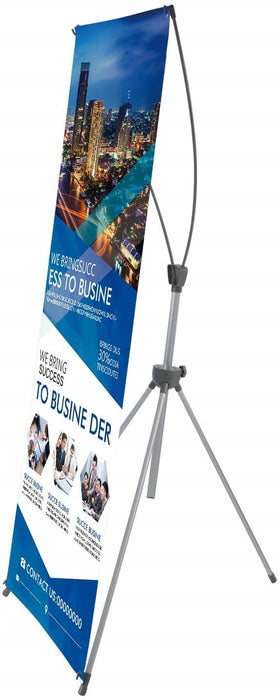 Reinforced Block Adjustable Tripod X Banner Stand, 23 x 63 to 31 x 71 Inch for Trade Show Exhibition,with Portable Travel Bag