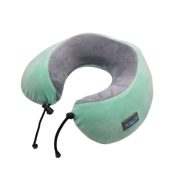 HAITIAN Travel Pillow Memory Foam Neck Pillow for Airplanes & Train Traveling,with Portable Packing Bag,Earplugs,3D Sleep Mask - Mint