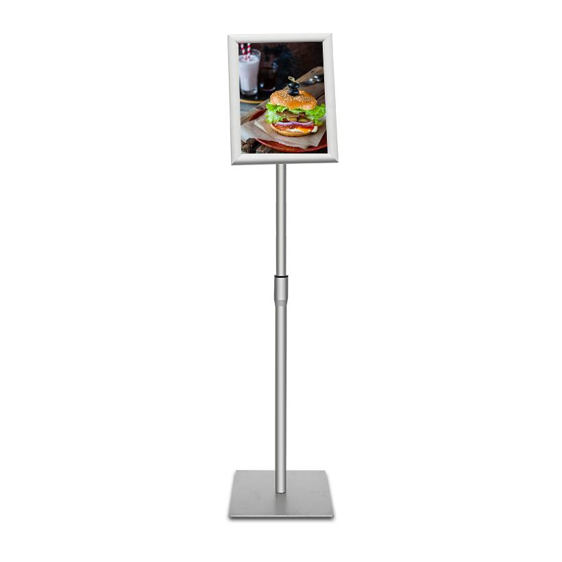 Sign Stand Fits for 8.5x11 Inches Poster, Heavy Square Metal Base, Color Silver