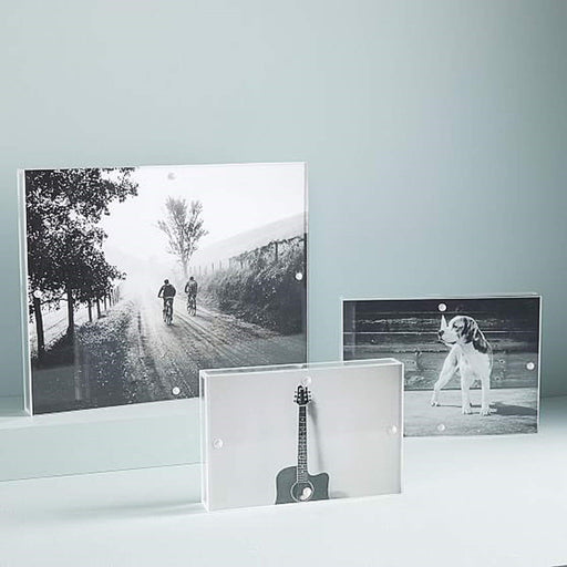 Acrylic Frames 4x6 with Magnets,Double Sided Frameless Magnetic Picture Frames for Desktop