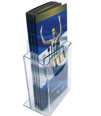 "HAITIAN 4x9 Brochure Holder Stand for 4"" Wide Leaflets and Trifold Pamphlets, Multiple Use on Table Top/Wall/Poster Stand, 3mm Thick Clear Plastic, Solid and Steady"