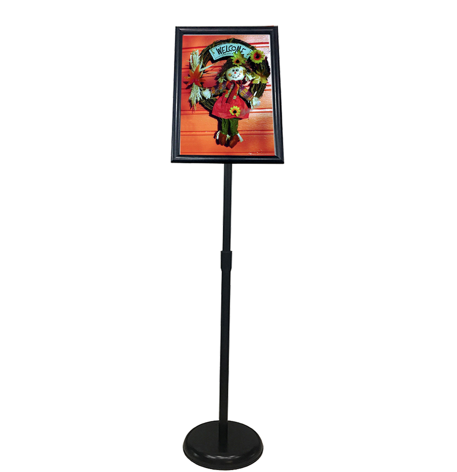 Sign Stand Fits for A3 Size Poster, Round Metal Base, Color Black