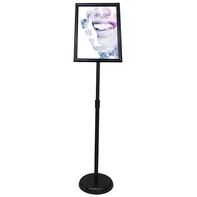 Sign Stand Fits for 11x17 Inches Poster, Round Metal Base, Color Black