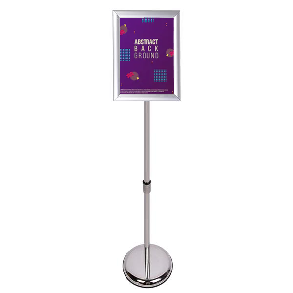 Sign Stand Fits for 8.5x11 Inches Poster, Round Metal Base, Color Silver