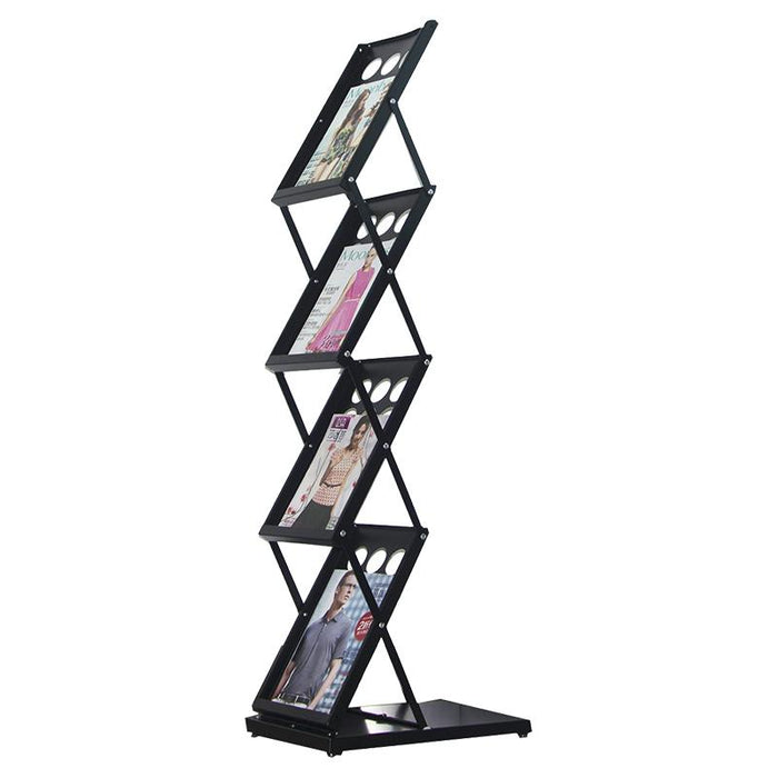 Metal Foldable Literature Rack 4 Pockets