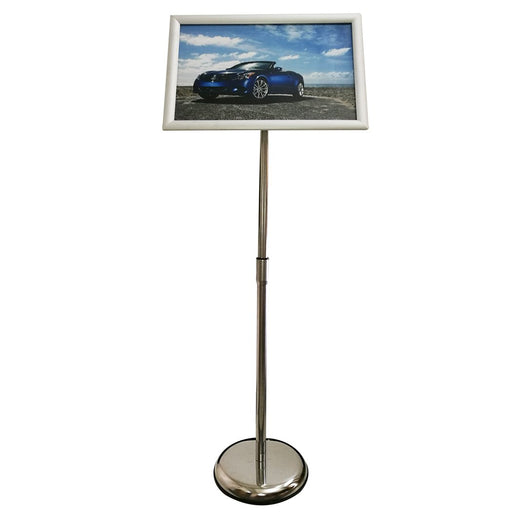 Sign Stand Fits for 11x17 Inches Poster, Round Metal Base, Color Silver