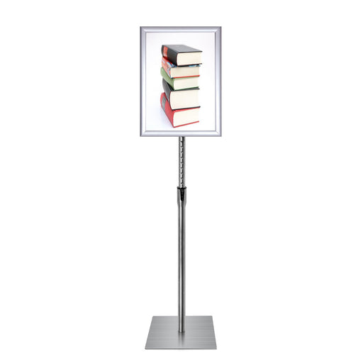 Pedestal Sign Stand Fits for A4 size Poster, Heavy Square Metal Base, Color Silver