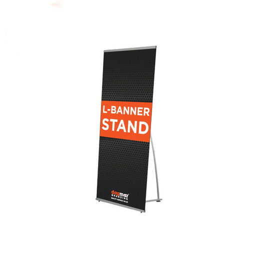 "L Banner Stand for 24"" x 63"" Inches, Vertical Sign Holder for Trade Show, Indoor&Outdoor Events with Carrying Bag"
