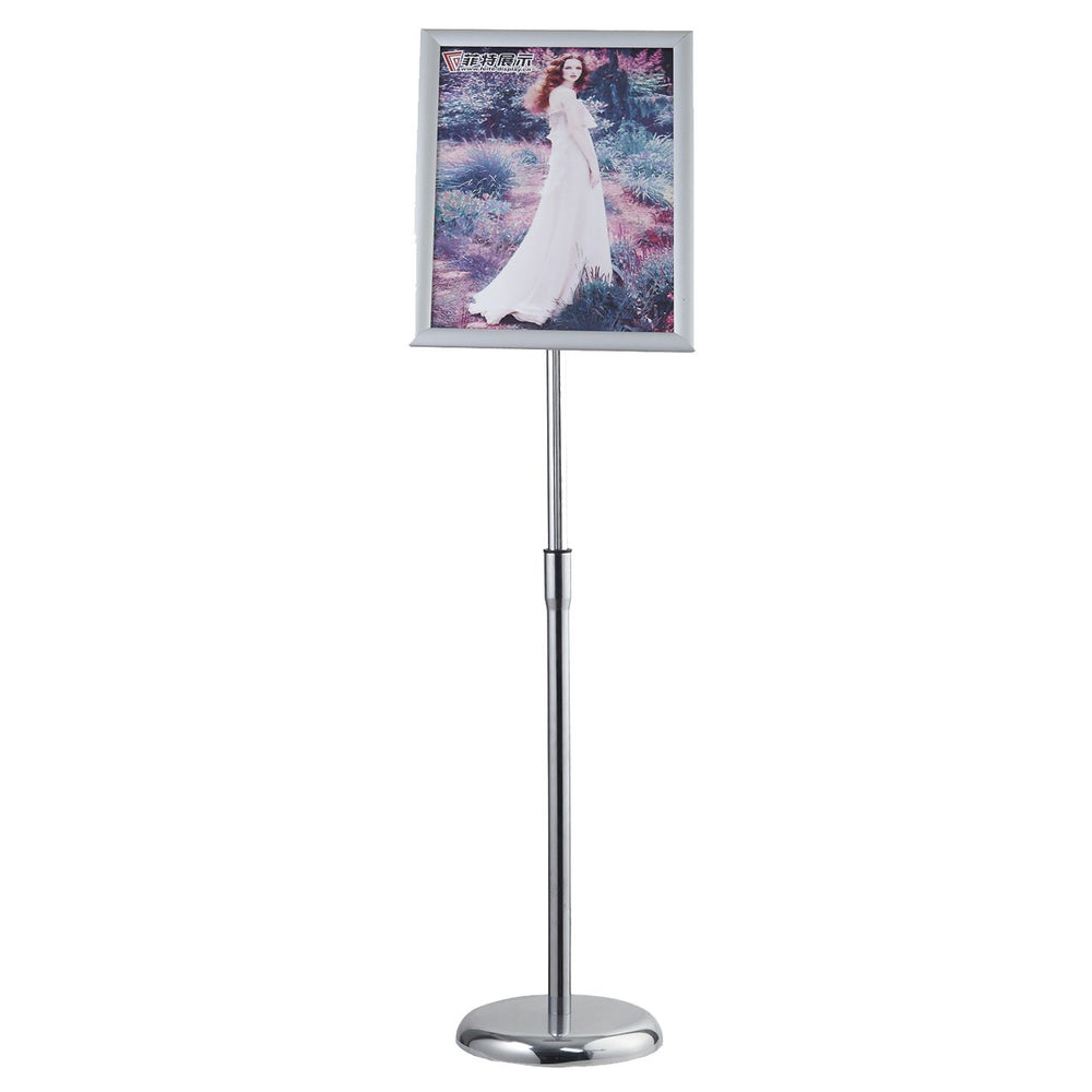 Sign Stand Fits for A3 Size Poster, Round Metal Base, Color Silver